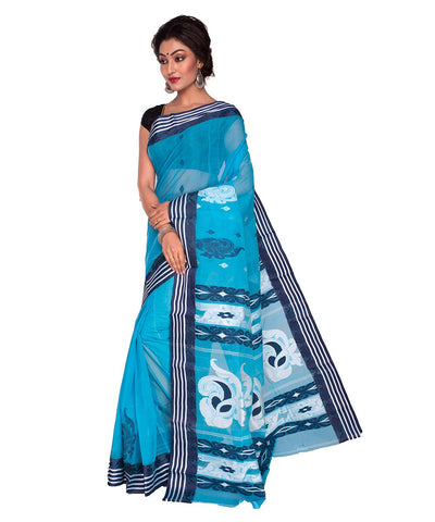 Bengal Handloom Blue Tant Cotton Saree