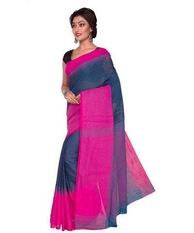 Grey Pink Bengal Handloom Tant Cotton Saree