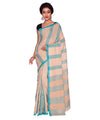 Off White Blue Stripe Handloom Cotton Saree
