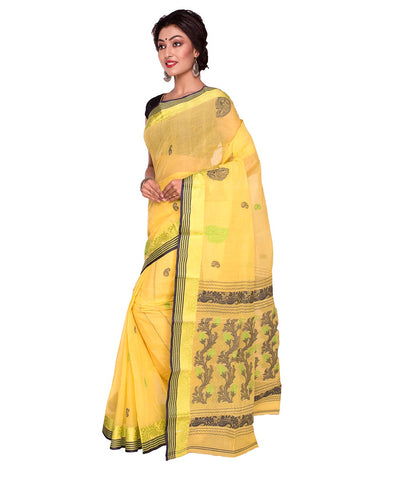 Bengal Handloom Tant Cotton Yellow Saree