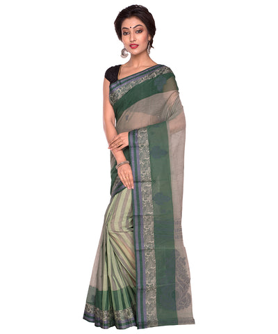 Dark Green Bengal Handloom Tant Cotton Saree