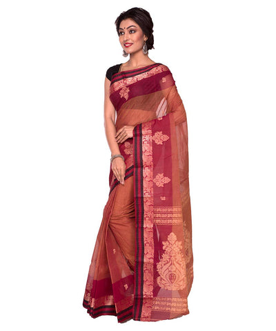 Rust Orange Bengal Handloom Tant Cotton Saree