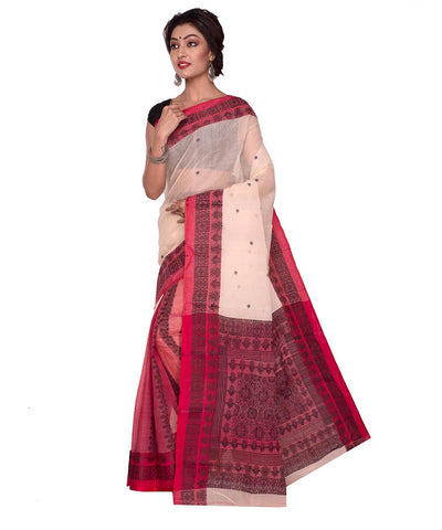 Bengal Handloom White Red Tant Cotton Saree