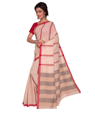 Off White Red Stripe Handloom Cotton Saree