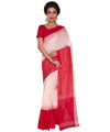 Bengal Cotton Handloom Red White Saree