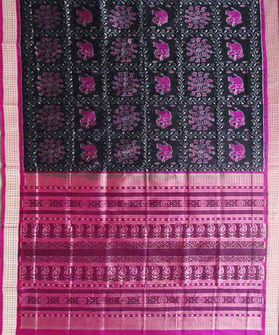 Black Pink Sambalpuri Silk Handloom Saree
