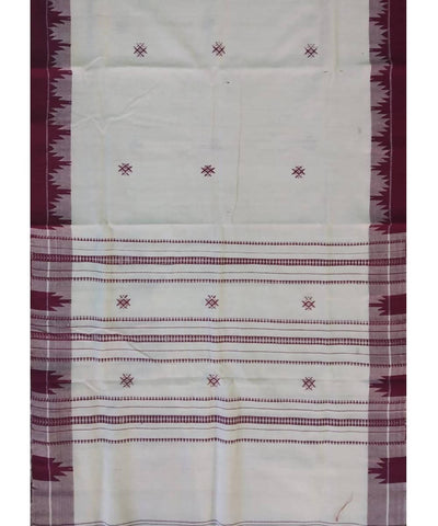 White Maroon Natural Dye Kotpad Cotton Handloom Stole