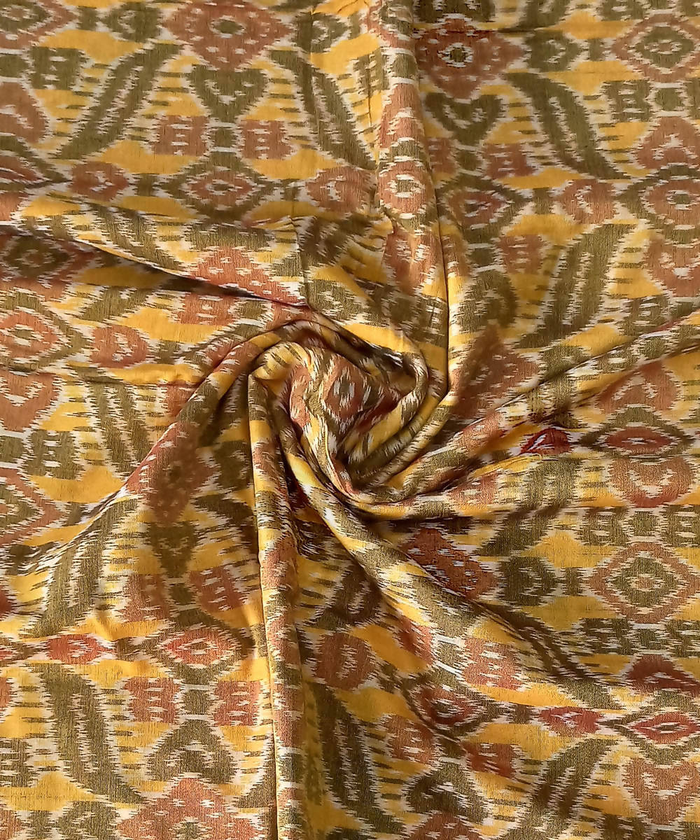 Yellow Handloom Odisha Ikat Cotton Fabric