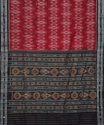 Red and Black Nuapatna Handwoven Cotton Saree