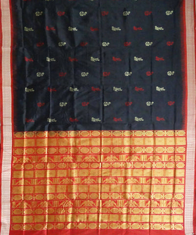 Black handwoven bomkai silk saree