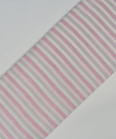 Pink and grey stripe handspun handwoven mul cotton jamdani fabric