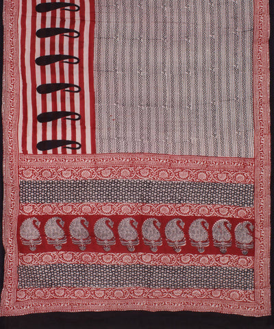 Off White Handblock Printed Cotton Saree