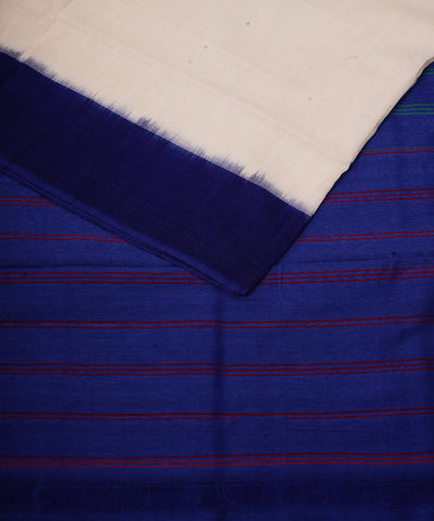 Handloom White Royal Blue Ikkat Cotton Saree