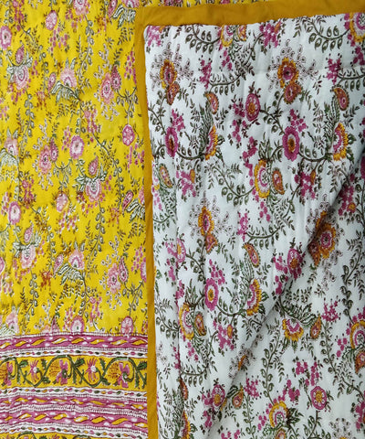 White Yellow Handblock Printed Cotton Quilt