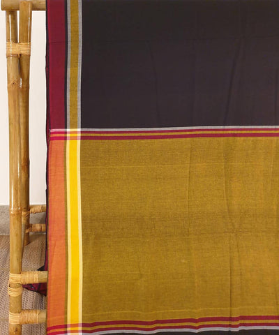 Black and mustard assam handloom cotton saree
