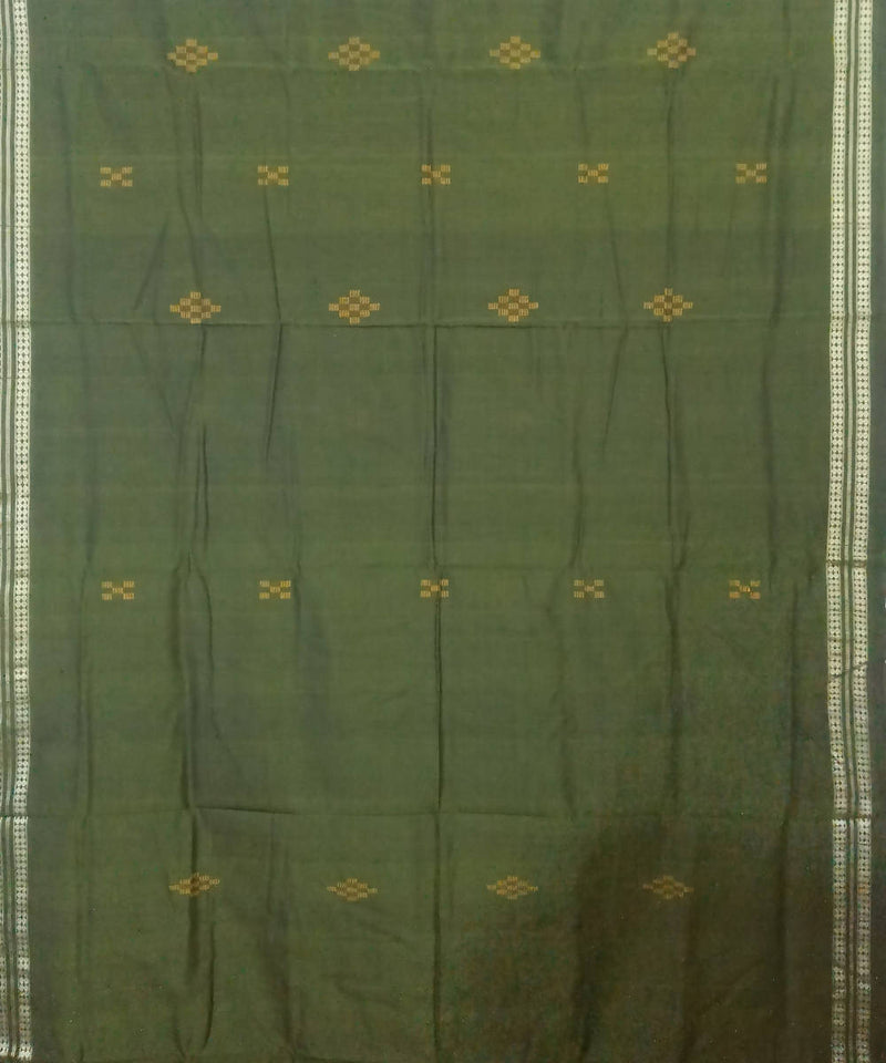 Pear Green and Black Bomkai Cotton Saree