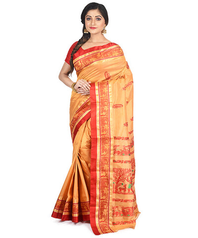 Orange and red handloom garad silk saree