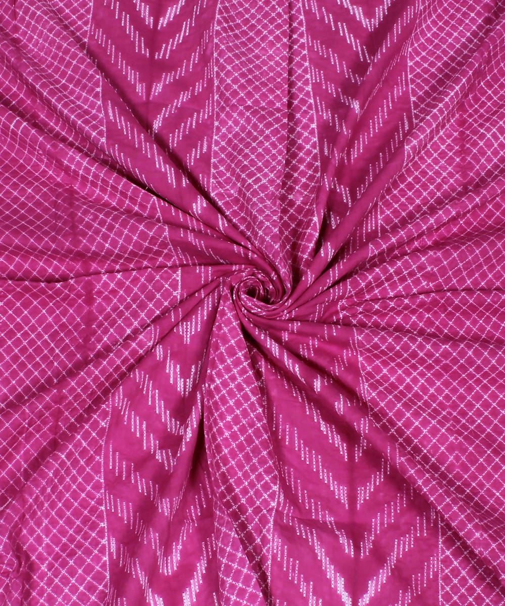 Pink Cotton Shibori Print Kurta Fabric