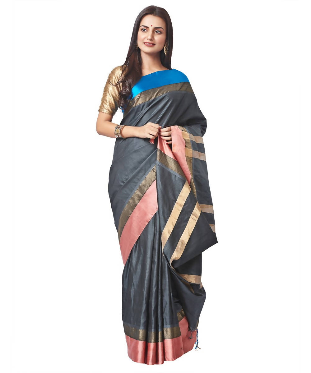 Biswa bangla handwoven black garod silk saree