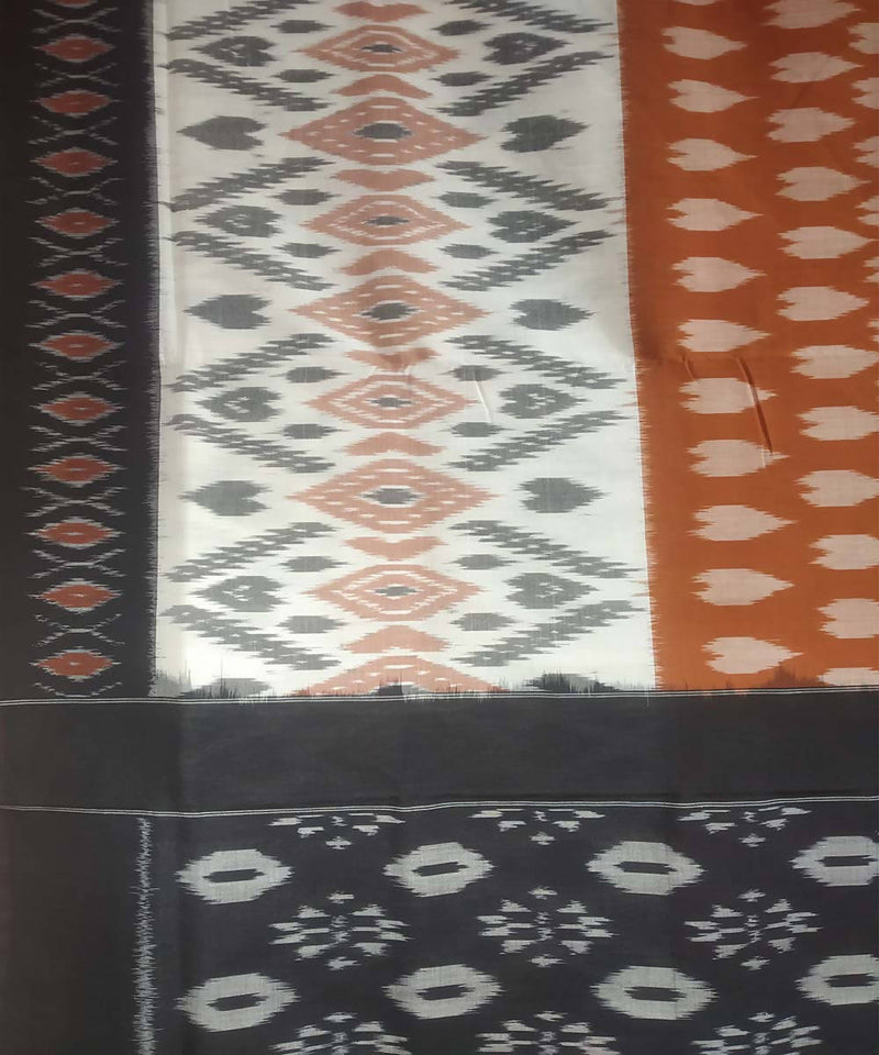 Light brown black handwoven cotton ikat pochampally saree