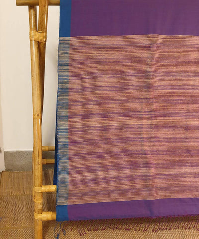 Purple blue assam handloom cotton and ghiccha saree