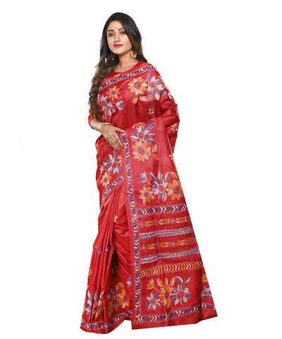 Dark Red Handloom Tussar Kantha Stitch Saree