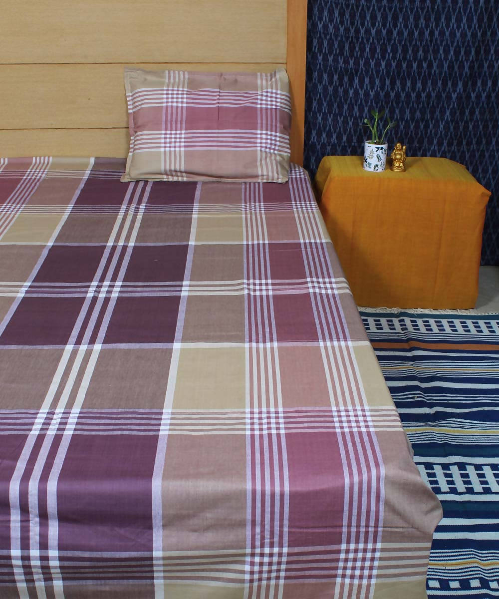Brown Broad Checks Handloom Cotton Bedsheet