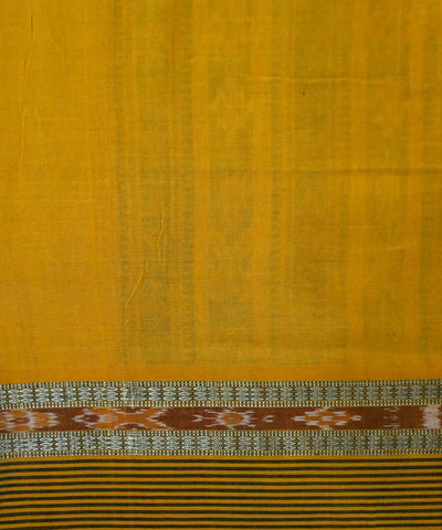 Green Yellow handloom Bomkai Cotton Saree