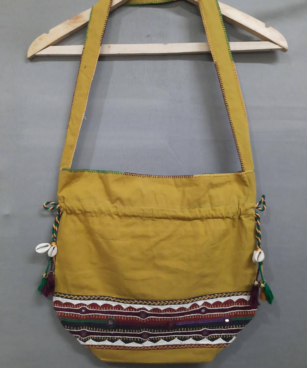 mustard yellow lambani hand embroidery cotton hand bag
