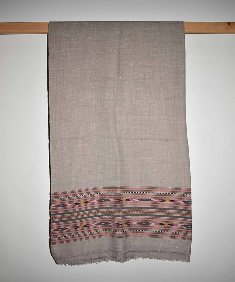 Grey handloom angora and wool shawl