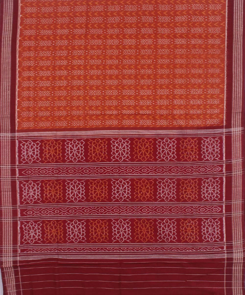 Orange Maroon Handloom Cotton Sambalpur Saree