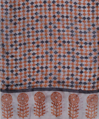 ECOTASAR Blue and Orange Handwoven printed silk stole