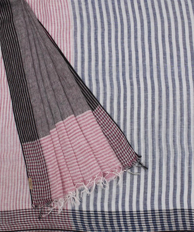 ECOTASAR Pink and Off White Handwoven Linen Saree