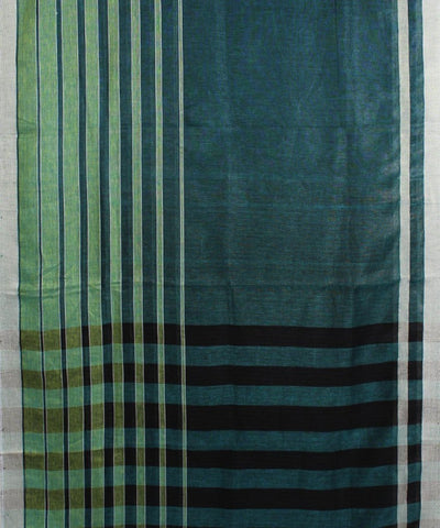 ECOTASAR Green and Blue Handwoven Linen Saree