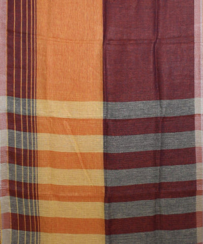 ECOTASAR Brown and Orange Handwoven Linen Saree