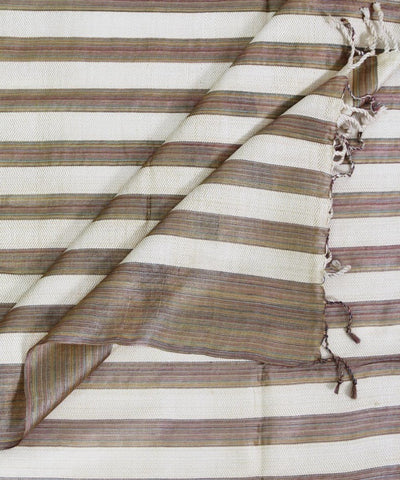 ECOTASAR Multicolor Beige Handwoven stripes Silk Stole