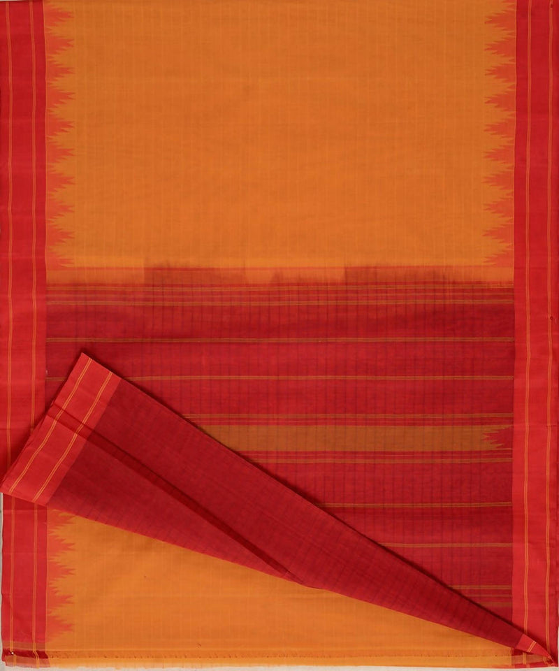Mustard handloom kanchi cotton saree dark red silk korvai temple border