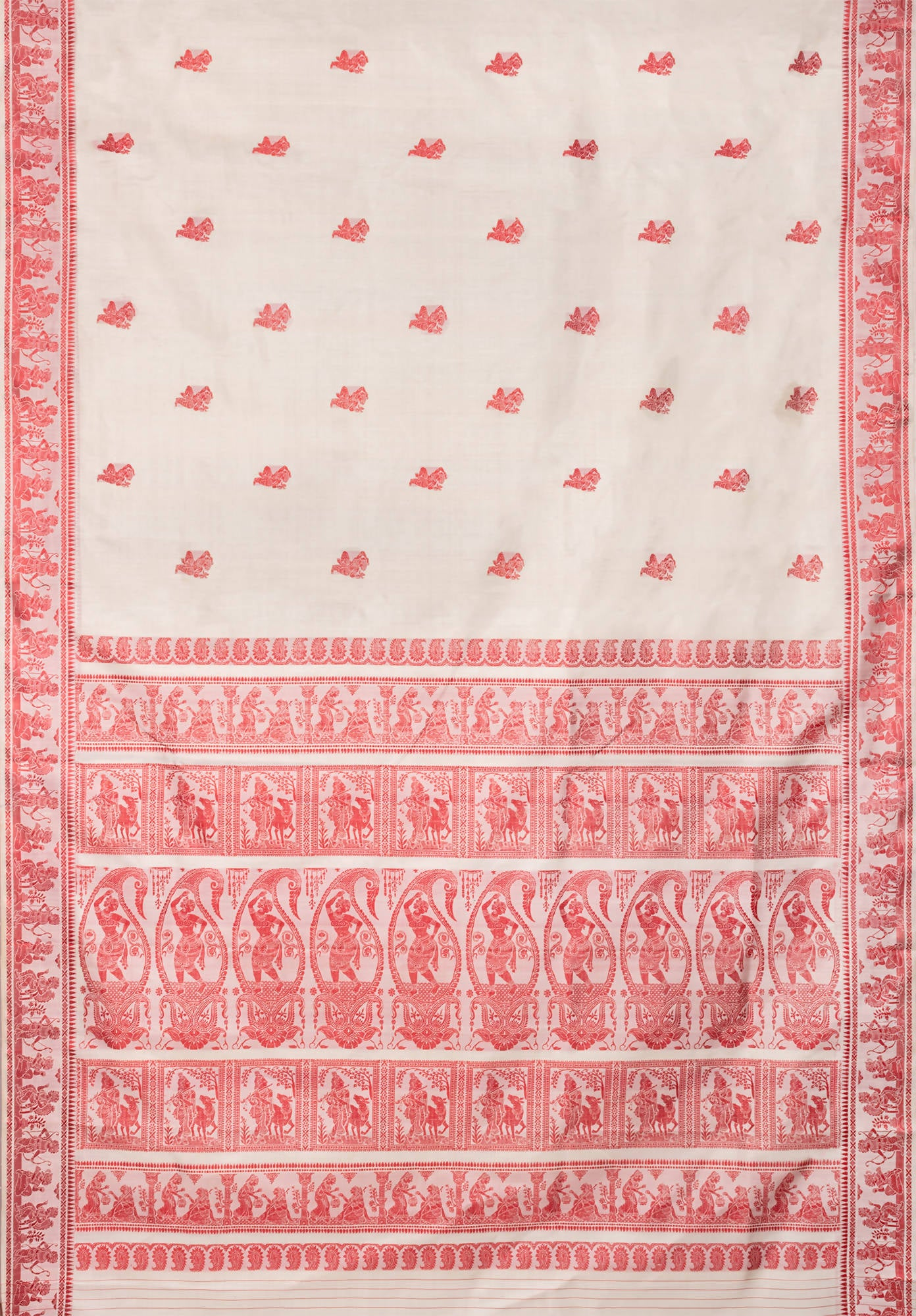 Biswa bangla handloom offwhite baluchari silk saree