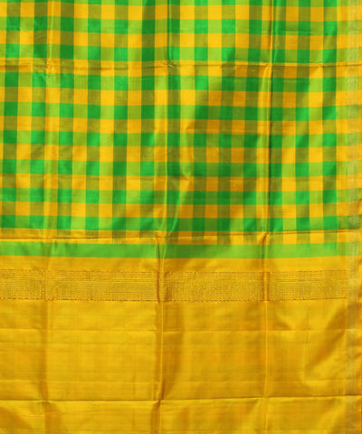Checks Green Yellow Khadi Handloom Silk Saree