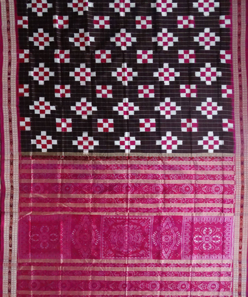 Chocolate brown Pasapalli ikat silk saree