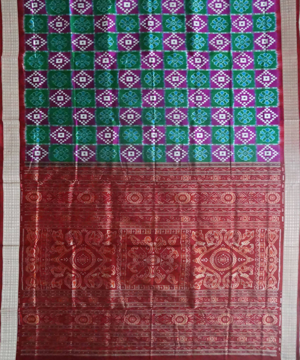 Green Sambalpuri Ikat Silk Handloom Saree