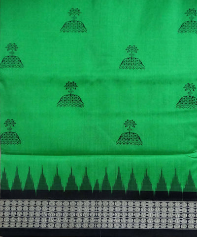 Dark Pastel Green Bomkai Silk Handloom Saree