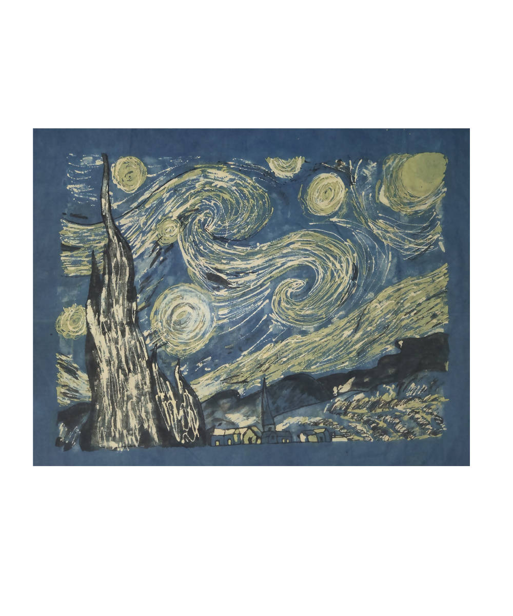 Van goghs starry night translated into natural dyed hand painting