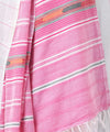 Pink And Natural Color Cotton Handwoven Saree