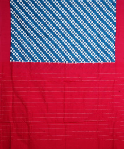 Blue Red Handloom Double Ikat Cotton Saree