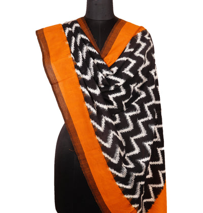 Black Brown Handloom Ikkat Cotton Dupatta