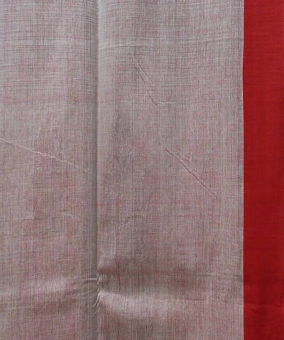 Bengal handspun handloom cotton beige and red saree