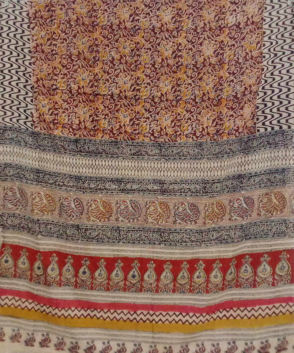 Prismatic Kalamkari handblock print cotton saree