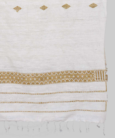 Assam Handwoven Off White Eri Muga Silk Stole