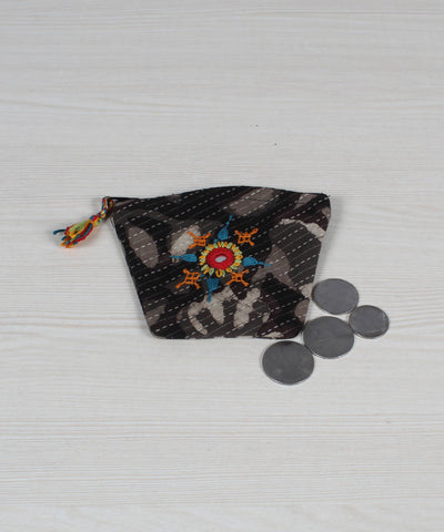 Lambani Embroidery Coin Pouch in Grey Black